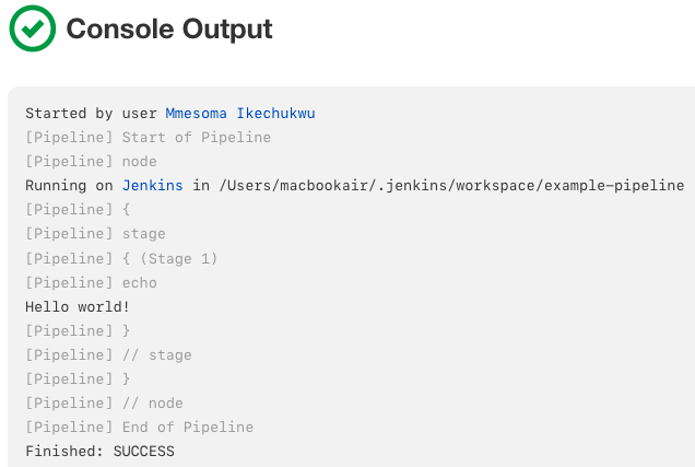 Click *Console Output* for the Pipeline