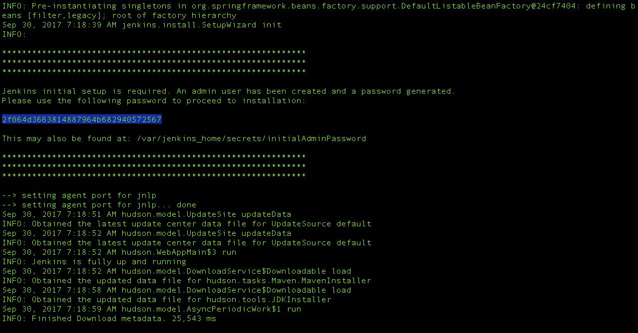 Copying initial admin password
