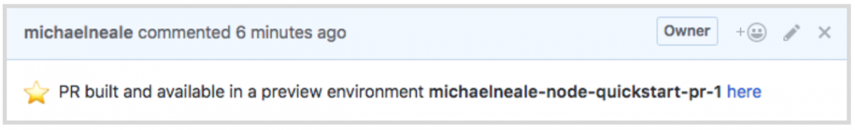 Comment in a GitHub Pull Request