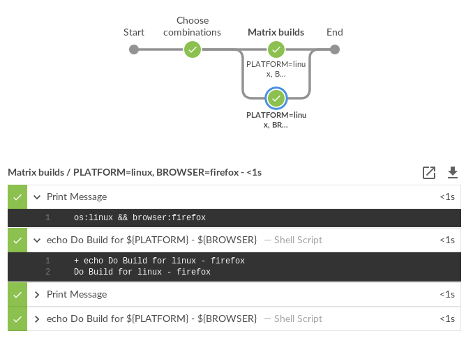 Screenshot of pipeline running requested user customizations