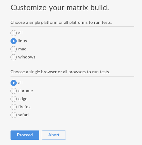 Screenshot of a dialog asking a question to customize matrix build