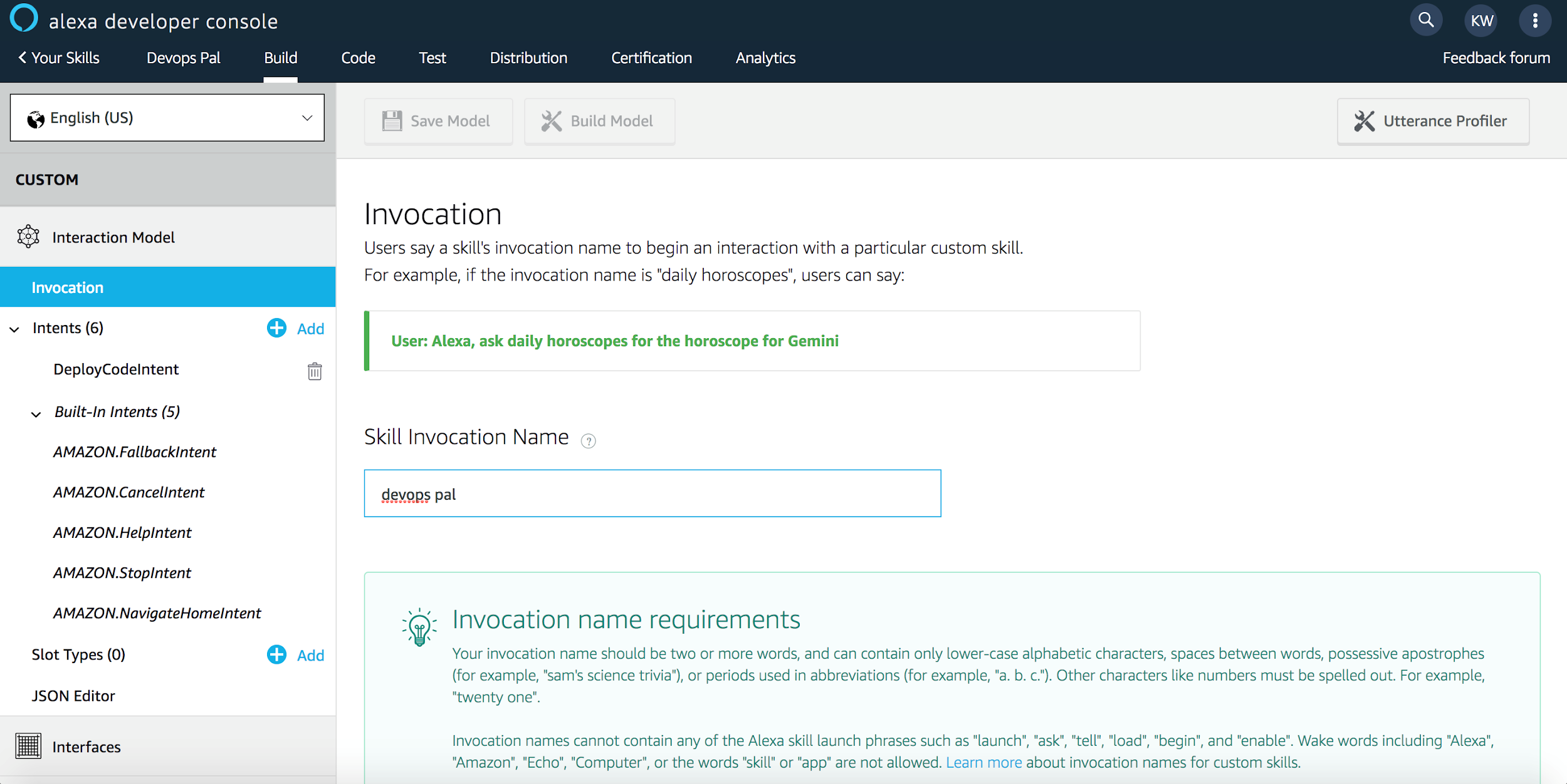 Invocation Name Setup Via Alexa Developer Console