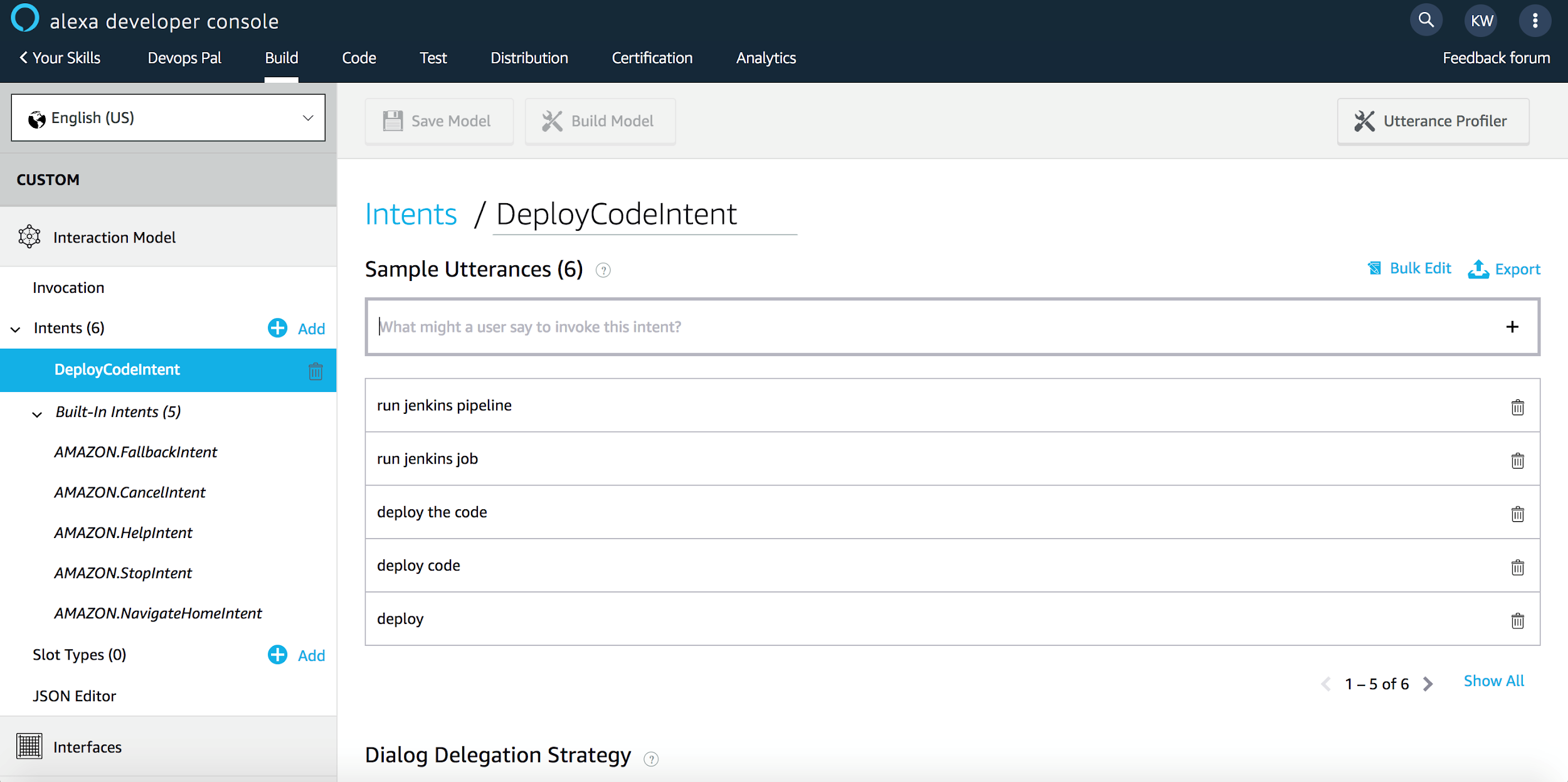 Utterances for DeployCodeIntent Via Alexa Developer Console