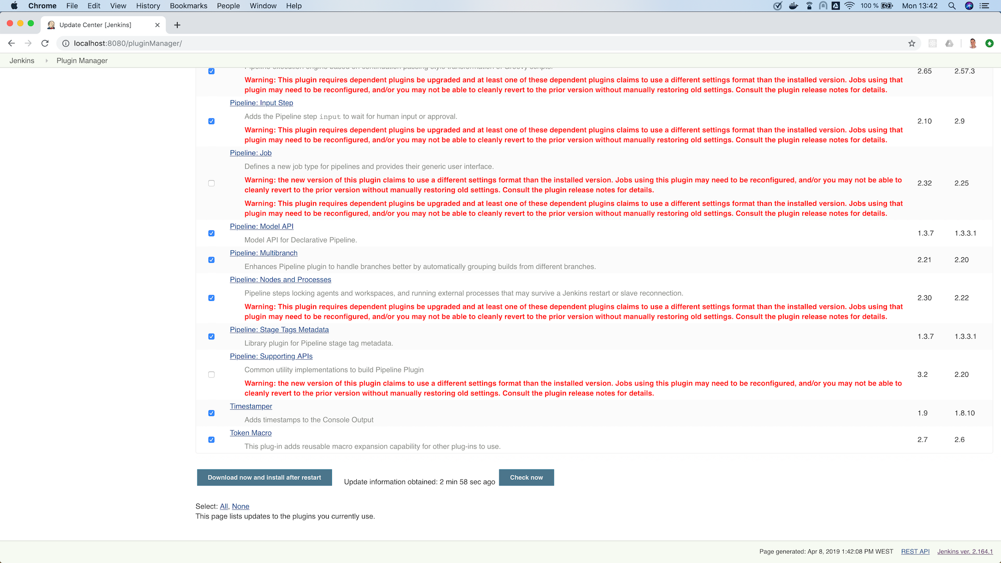 jenkins plugin manager updates selected bottom