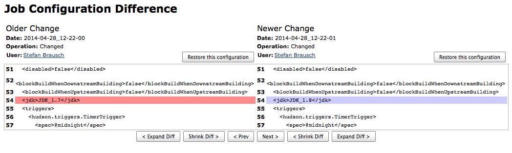 Screenshot of Job Configuration History