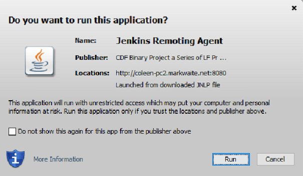 Java Web Start prompt for remoting agent