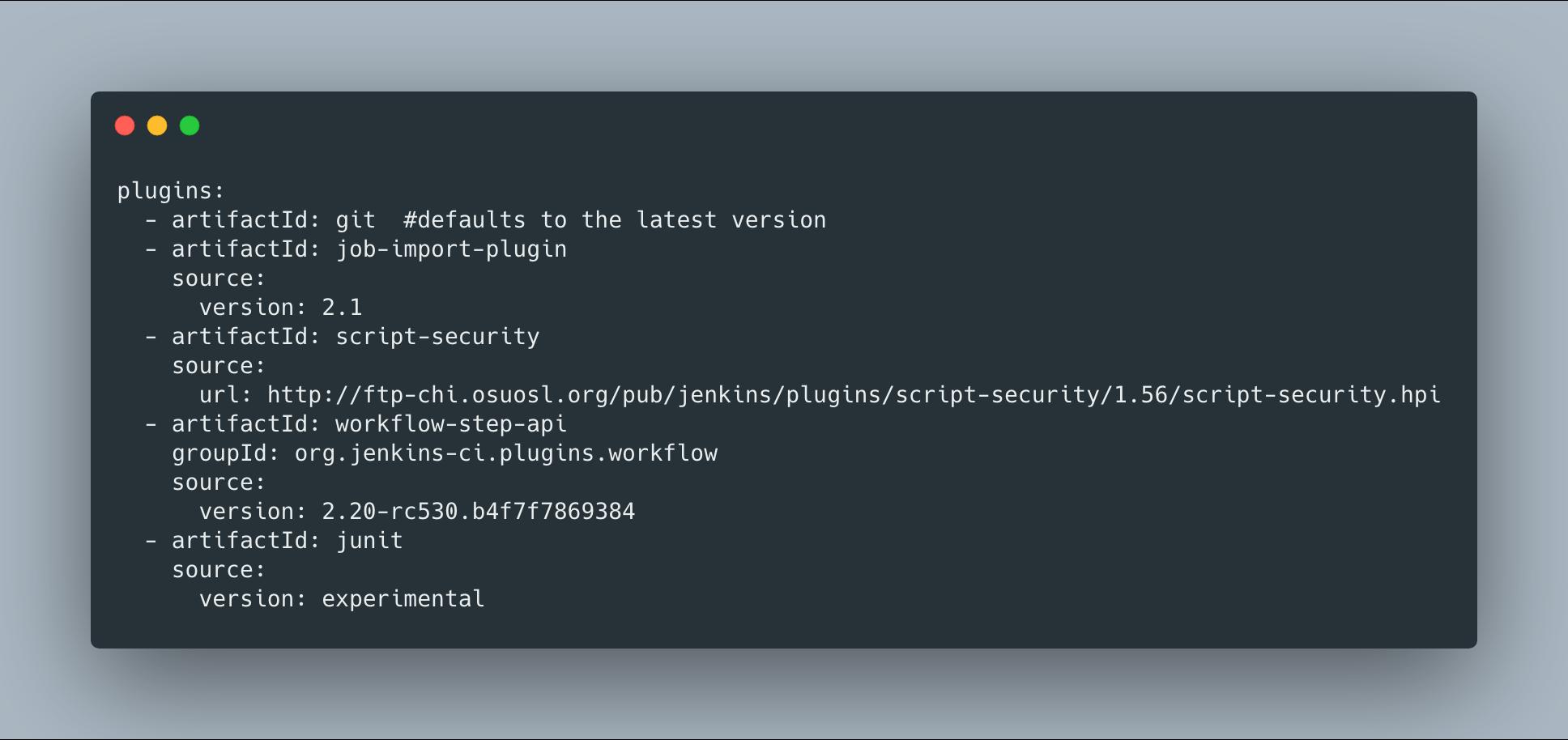 Plugin Manager Tool YAML file