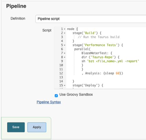 Running load tests in Jenkins Pipeline with Taurus