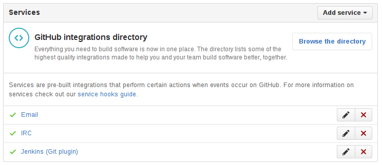 Jenkins in the GitHub WebHooks/Services view
